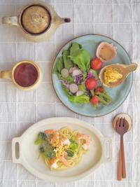 えびとブロッコリーのパスタ朝ごはん - 陶器通販・益子焼 雑貨手作り陶器のサイトショップ 木のねのブログ