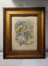 オリジナル絵入り木製金彩額868 - スペイン・バルセロナ・アンティーク gyu's shop