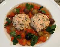 サーモンバーガー和風味の野菜ソース添え - やせっぽちソプラノのキッチン2
