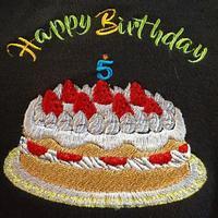 バースディケーキの刺繍 - ソライロ刺繍