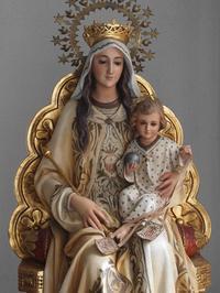 カルメル山の聖母子 坐像80cm   /G049 - Glicinia 古道具店