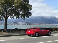 びわ湖大橋と雪の比良と菜の花と - SAMとデルソルの「お日様がまぶしい」