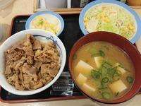3/2  得朝ミニ牛めしお新香豚汁セット¥430 + 生野菜¥110 @松屋 - 無駄遣いな日々