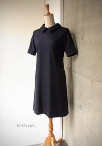 Loop collar Navy dress - KeiFerida