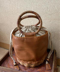 ☆RATTAN LEATHER BAG☆春ミニスカーフ☆ - SOL-COOL ASIA, Natural-Chic-Sophisticated