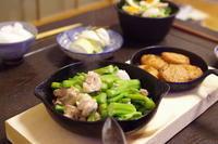 鶏もも肉とのらぼう菜のにんにく塩炒め。 - おおぐらい通信