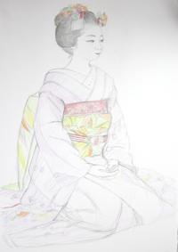 祇園舞妓さんモデル美羽子ちゃん 大きさB2 - 黒川雅子のデッサン  BLOG版