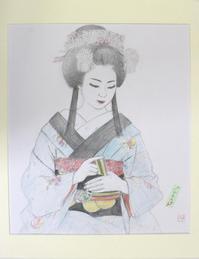 祇園舞妓さんモデル小なみちゃん  大きさB2節分おばけあんみつ姫 - 黒川雅子のデッサン  BLOG版