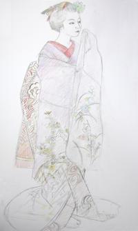 上七軒舞妓さん尚絹ちゃん先笄 - 黒川雅子のデッサン  BLOG版