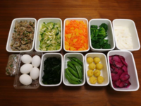 2019/3/10常備菜(れんこんの肉そぼろ炒めなど)*図書館から借りてきた本 - お弁当と春の空
