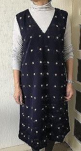 着物リメイクジャンバースカート生徒の作品 - アトリエ A.Y. 洋裁教室