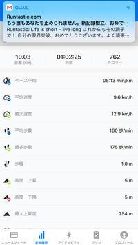本日のRUN 10km 6:13min/km - ( どーもボキです > Z_ ̄∂