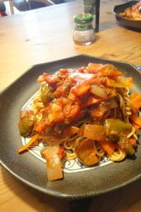 トマトソースのスパゲティ - 週末は晴れても、雨でも