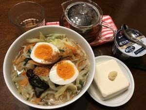 糖質0g麺とコンビニ袋やさいでラーメンふう - よく飲むオバチャン☆本日のメニュー