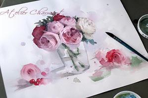 水彩画 薔薇 - Atelier Charmant のボタニカル・水彩画ライフ