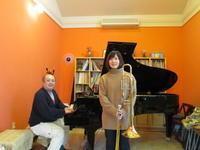 今日は、午後から山形交響楽団のトロンボーン奏者篠崎唯さんが、見えられました。 - ピアノ日誌「音の葉、言の葉。」(おとのは、ことのは。)