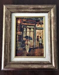 オリジナル油絵「雨」 - スペイン・バルセロナ・アンティーク gyu's shop