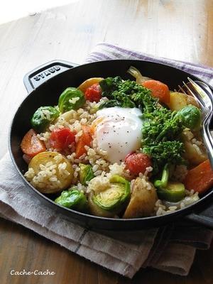 春野菜と玄米のホットサラダ 温泉卵のせ♪・・・掲載していただきました。 - Cache-Cache+
