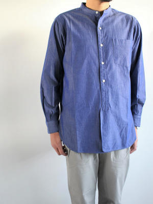 blurhms Polish Chambray Band Collar Shirt L/S - CHM-Navy - 『Bumpkins putting on airs』