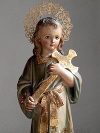 十字架を抱く幼子イエス 56cm  聖人像 木彫 /F787 - Glicinia 古道具店