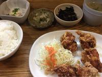 25日 鶏の唐揚げ定食@私の食卓 - 香港と黒猫とイズタマアル2