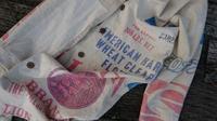粉袋にハマル - 古布や麻の葉