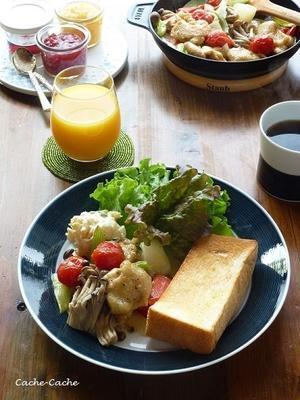 チキンと野菜のグリルと、「一本堂」の食パン♪ - Cache-Cache+