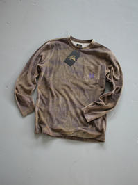 NEEDLESL/S Crew Neck Tee - C/Poly Velour / Uneven Dye - Olive - 『Bumpkins putting on airs』