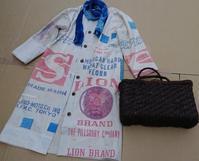 ダメージ粉袋からコートワンピ - 古布や麻の葉