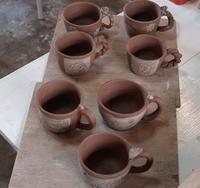 今日の陶芸作業!マグカップの作業。 - 織月紅希の真っ赤な月窯ギャラリー