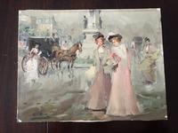 オリジナル油絵「町の風景」 - スペイン・バルセロナ・アンティーク gyu's shop