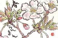 近所の神社の桜 - 気まぐれ絵手紙
