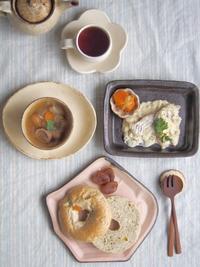 アプリコットベーグルの朝ごはん - 陶器通販・益子焼 雑貨手作り陶器のサイトショップ 木のねのブログ