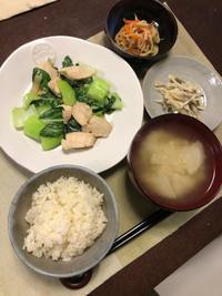 鶏肉とチンゲン菜の炒め物 - 庶民のショボい食卓