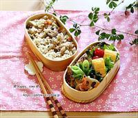 炊き込みご飯・アスパラ肉巻き弁当とパン焼き・バターロール♪ - ☆Happy time☆