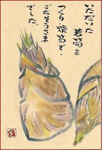 取れたての若筍を頂きました - 蒼月の絵手紙 ex