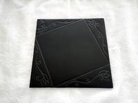 本焼き窯出し結果6★黒マット唐草紋陶板 - 月夜飛行船