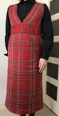 ウールの着物からリメイクジャンバースカート生徒の作品 - アトリエ A.Y. 洋裁教室