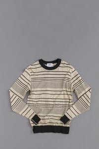 HS EQUIPMENT 14G Random Border Stitch Knit (Beige × Black) - un.regard.moderne