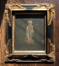 ルルドの聖母マリア 木製フレーム入り /G088 - Glicinia 古道具店