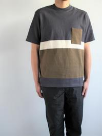 FLISTFIAShort Sleeve T-Shirt / Old Black × Off White × Khaki - 『Bumpkins putting on airs』