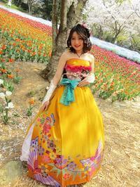 火の山公園チューリップと桜と振袖ドレス♪ - 山口下関市の着付け教室*出張着付け    はまゆうスタイル