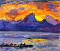 タヒチ、夕暮れ - 絵を描きながら