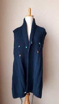 へちま襟のカーディガンその7襟が付きました - ふくすけのコネコネ 編み編み てくてく日記