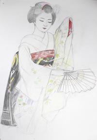 祇園舞妓さんモデルまめ衣ちゃん 大きさB2 - 黒川雅子のデッサン  BLOG版