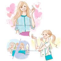 花王×@cosmeタイアップ記事イラスト - 女性誌を中心に活動するイラストレーター ★★清水利江子の仕事ブログ
