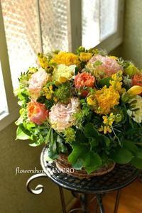 元気が出るひだまりカラーで作る退院祝いのフラワーアレンジメント。 - 花色~あなたの好きなお花屋さんになりたい~