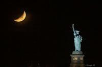 "A short film of  "" Moon Set with Lady Liberty April 2019 "" - Triangle NY"