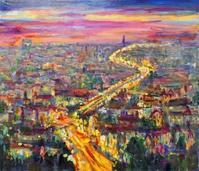 プラハの夜 - 絵を描きながら