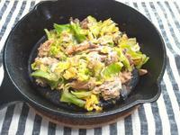 鯖缶とキャベツ炒め、卵とじ - Minha Praia